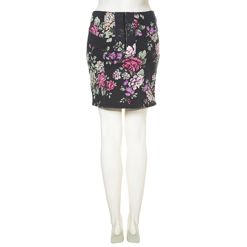 topshop denim floral print bodycon skirt toppingyou