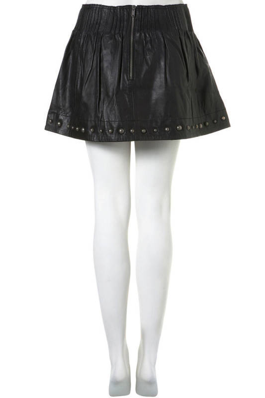 Topshop Black Genuine Leather studded mini skirt | Toppingyou Blog