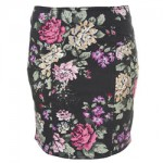 FLORAL SPRAY DENIM SKIRT