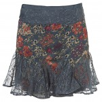 blue flower lace skirt