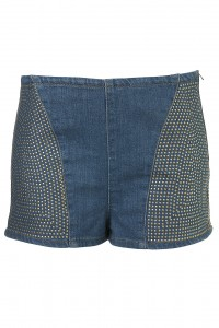 denim blue studded hotpants