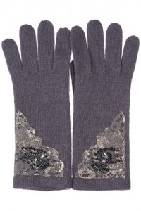 grey sequin gloves
