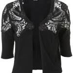 knitted lace trim shrug