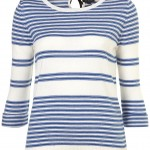 knitted stripe tie back top sweater