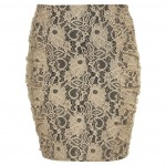 lace ruche bodycon skirt