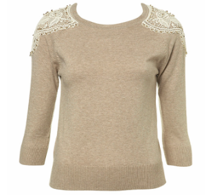 lace taupe jumper