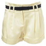 lemon cream belted shorts