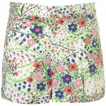 floral orchid denim shorts