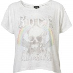 crop rock t shirt skull rainbow