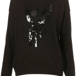 black knitted sequin fox jumper sweater