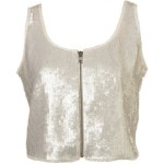 Topshop - Sequin Zip Crop Vest (Medium)