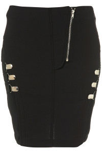 black zip clips skirt