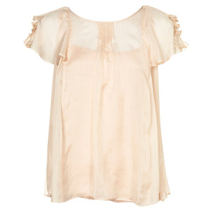 pintuck frill zip blouse silk pink