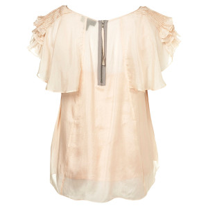 pintuck frill zip blouse silk pink back